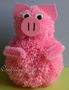 Cute Pom Pom Pig 2019 Who doesn't love pom poms? Your kids will love making this adorable pink pig. The post Cute Pom Pom Pig 2019 appeared first on Wool Diy. Yarn Crafts For Kids, Pig Crafts, Crafts For Teens To Make, Animal Crafts For Kids, Summer Crafts For Kids, Easter Crafts, Diy And Crafts, Arts And Crafts, Preschool Crafts