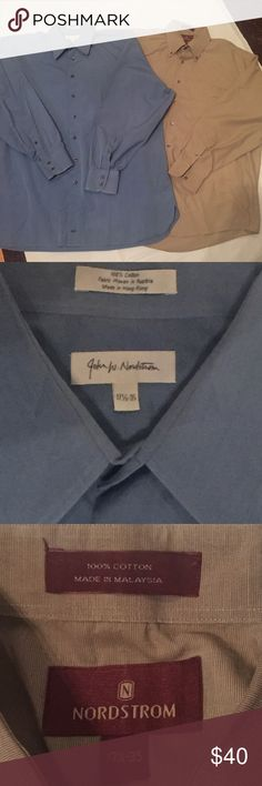 """Nordstrom JWN Dress Shirts Button Down Blue Brown Nordstrom JWN Cotton Dress Shirts Button Down Blue Brown Brown shirt is labeled Nordstrom 17 1/2""""-35 Measurements  • length 35"""" • Armpit to armpit 28"""" Blue shirt labeled John W. Nordstrom & Embroidered with these initials on the bottom of shirt. Small spot on the back please see photos. Measurements  • length 33"""" • Armpit to armpit 28"""" John W. Nordstrom Shirts Dress Shirts"""