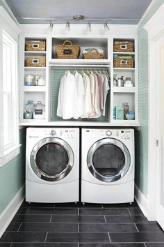 Summer style!! Wonderful light and white laundry cupboard - Love the storage area over the washer and dryer! Small compact but lots of storage!