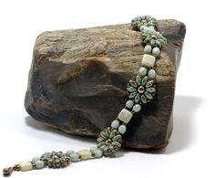 Super Duo Flower Bracelet Green Luster by CinfulBeadCreations