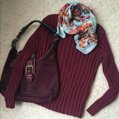 """Host PickBurgundy Ribbed Crew Sweater Rolled neckline rib knit in this season's it color. Length 20"""". Sleeve length 20"""". I think best for petites even though not labeled petite. Good condition with very little sign of wear except a little fading from washing. Smoke free home. Skirt in 2nd pic listed separately. Handbag and scarf not included. Bundle discounts. Best in Sweaters and Jackets Host Pick by @jaekuma  Christopher & Banks Sweaters Crew & Scoop Necks"""