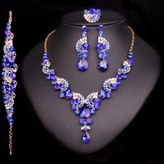 Crystal Wedding Jewelry Sets Bride Party Accessories Bridal Necklace Earring Jewelry for Women