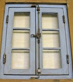 Make a European style working window latch for a dollhouse
