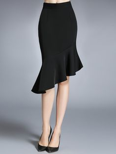 Ericdress Solid Color Asymmetric Usual Skirt 12229725 - EricDress.com