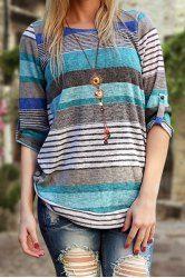 Camiseta de la joya elegante del cuello de la manga larga de rayas asimétricas de la Mujer