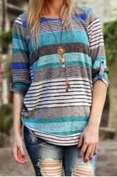 Stylish Jewel Neck Long Sleeve Striped Asymmetrical Women's T-Shirt
