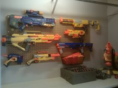This is so happening in my son's room!! - I would put this in the garage instead because they are outside toys Mister!!!