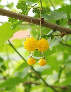 Yellow Earrings Chrysanthemum Flower with Yellow Bead by belmonili, $15.00