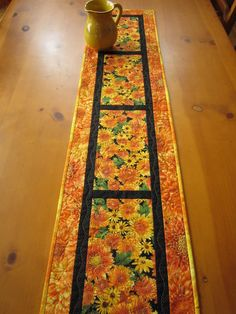 Table Runner Floral Handmade Quilted Flowers Home Decor
