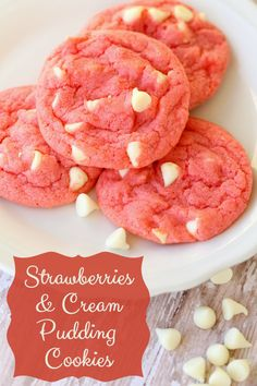 Strawberries & Cream Pudding Cookies