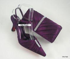 Womens Purple Wedding Prom Evening Shoes Matching Bag 4 5 6 7 8 9