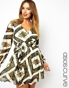 ASOS CURVE Wrap Dress In Square Chain Print