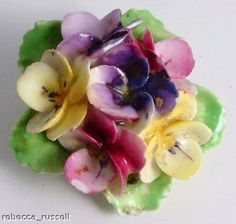 #pansy porcelain brooch