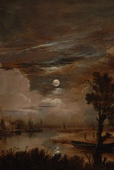 Moonlit Landscape with a View of the New Amstel River and Castle Kostverloren by Aert van der Neer, 1647 (detail)
