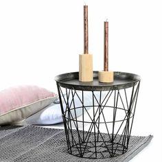 tisch design beistelltisch drahtkorb metall mit deckel wei schwarz 40cm schwarz. Black Bedroom Furniture Sets. Home Design Ideas