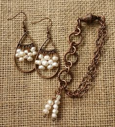 Antiqued Copper and Freshwater Pearl Bracelet and Earring Set