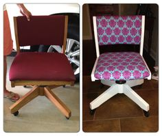 Before and After classroom makeovers: paint and recover your desk chair. There are a TON of classroom makeover ideas on this site. LOVE!