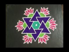Simple Rangoli Design with Colours and Dots Easy Rangoli Designs Diwali, Indian Rangoli Designs, Rangoli Designs Latest, Simple Rangoli Designs Images, Rangoli Designs Flower, Free Hand Rangoli Design, Small Rangoli Design, Rangoli Border Designs, Rangoli Patterns