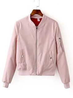 ¡Cómpralo ya!. Pink Zipper Bomber Jacket With Arm Pocket. Pink Polyester Basic Stand Collar Short Zipper Fall Plain Jackets. , chaquetabomber, bómber, bombers, bomberjacke, chamarrabomber, vestebomber, giubbottobombber, bomber. Chaqueta bomber  de mujer color rosa de SheIn.