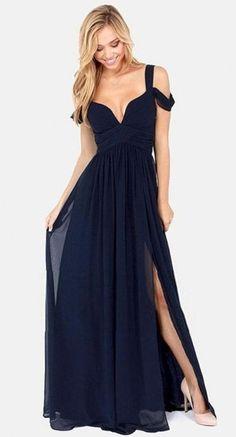 Abito lungo chiffon BLU cerimonia scollato spacco sera maxi vestito smanicato