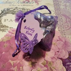 My version of the 'Butterfly Kisses' favor that I used at my daughter… – 2019 - Baby Shower Diy Butterfly Birthday Party, Butterfly Baby Shower, Baby Shower Purple, Baby 1st Birthday, Butterfly Kisses, Purple Butterfly, Butterflies, Butterfly Party Favors, Butterfly Centerpieces
