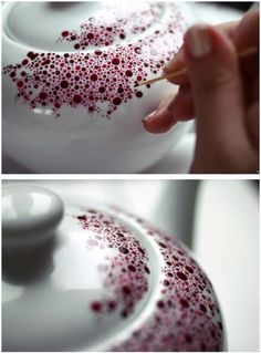 Paint a Porcelain Teapot. Love this idea for mugs - 20 of the Most Adorable DIY Kitchen Projects