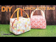 I made Lunch Tote Bag for Picnic today. Sac Lunch, Lunch Tote Bag, Diy Tote Bag, Diy Purse, Handbag Tutorial, Diy Handbag, Purse Tutorial, Bag Patterns To Sew, Tote Pattern
