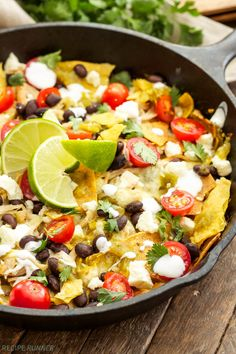 Skillet Green Chile Chicken Chilaquiles | Corn tortilla chips tossed ...