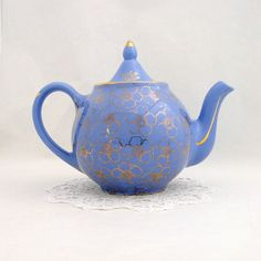 Vintage Hall Teapot 049 Periwinkle Gold by RosaMeyerCollection, $40.00