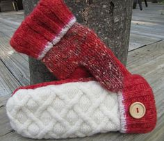 Wool MIttens, TOMATO RED & CREAM, Felted Wool, Fleece Lined, Recycled Sweater Wool (10)
