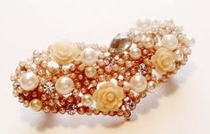 Heart, pearl, and rose floral design hair clip Barrette style, rose gold with diamond, crystal, and pearl accents - Fast shipping from IL, USA