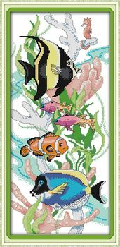 Cross Stitching Kits 14CT 11CT Tropical fish 3 DIY Craft Needlework DMC Counted Cross Stitch Sets for Embroidery Home decoration