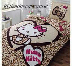 pure white bedroom with brown hello kitty bed decor plus laminate floor design: cute hello kitty bedroom design ideas with colorful wallpaper and like OMG! get some yourself some pawtastic adorable cat apparel! Hello Kitty Bedroom Set, Hello Kitty Rooms, Hello Kitty House, Cat Bedroom, Girls Bedroom, White Bedroom, Bedroom Brown, Room Girls, Bedroom Stuff