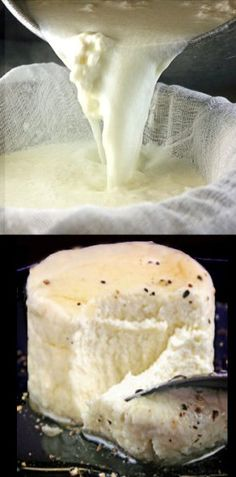 Homemade Ricotta Cheese - 4 Ingredients, 2 minutes cooking time (more like 12 but still not very long). SO much better than store bought! Outside of the typical uses, try it with honey and black pepper! Fromage Vegan, Fromage Cheese, How To Make Cheese, Food To Make, Making Cheese, Cooking Time, Cooking Recipes, Cooking Fails, Dishes Recipes