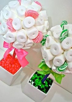 White Green or Pink Marshmallow  Lollipop Candy Land Centerpiece Topiary Tree, Candy Buffet Decor, Wedding, Mitzvah, by Skeezeeks