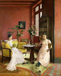 Two Women Reading in an Interior Fine Art Print - Jean Georges Ferry