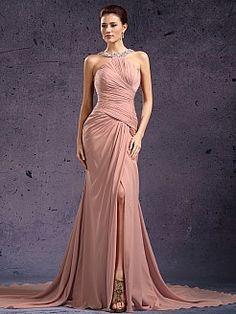 Beaded Neckline Sexy Chiffon Mermaid Prom Dress - USD $132.00