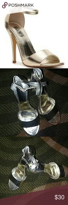 """Mix No. 6 """"Charlie"""" Step out and stand out in the gorgeous Charlie high-heeled sandal from Mix No. 6. This delicate two-piece sandal is sleek and strappy for one stunning look.  Metallic faux leather upper Ankle strap with adjustable buckle 4?"""" covered heel  synthetic sole  imported Mix No. 6 Shoes Heels"""