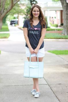 J'adore Paris Tee - This feminine cut, stylish tee is perfect for the girl that dreams of picnicking under the Eiffel Tower, macarons at Laduree, shopping Avenue Montaigne, having lunch on the terrace of Cafe de Flore, visiting the Museum d'Orsay, and strolling the cobblestone streets of Le Marais.