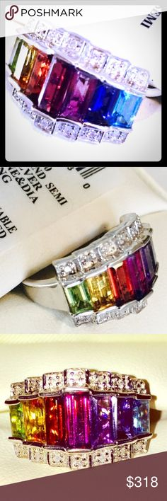 """RING-SS925 Diamond-Gemstone, NWT! A BRAND NEW (Never Worn) """"Rainbow  of Colors"""" RING on Your Finger. Size 7, SS925. Stones are Precious & Semi-Precious with Diamond Accents: Peridot Green, Citrine Yellow, Garnet Red, Pink Topaz, Amethyst Purple, Blue iolite, & Blue Topaz. Comes in Original Box w/Tag (Macys)!! Jewelry Rings"""