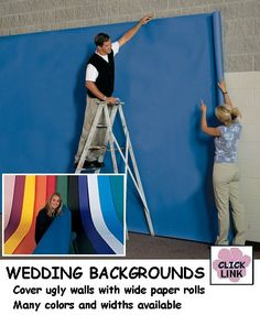 Wide colored paper to cover ugly walls for proms, wedding receptions and other parties.  $18.99 (4' x 50' rolls)