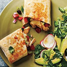 chicken and black bean stuffed burritos -added quarter can green chills, and diced red peppers sautéed with garlic