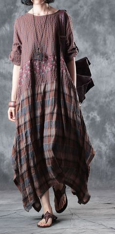 Fine chocolate linen maxi dress plaid grid patchwork linen gown 2018 half sleeve pockets caftansMost of our dresses are made of cotton linen fabric, soft and breathy. loose dresses to make you comfortable all the time. Sewing Clothes Women, Clothes For Women, Short Beach Dresses, Maxi Dress With Sleeves, Dress Patterns, Casual Dresses, Dresses Dresses, Blouse, Shopping Sites