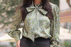 Bluza dama Artista verde office din satin cu croi larg si guler tip esarfa Bell Sleeves, Bell Sleeve Top, Ruffle Blouse, Tops, Women, Fashion, Artists, Moda, Fashion Styles