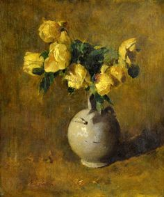 Yellow Roses by Emil Carlsen. People Art, Yellow Flowers, Flower Art, Still Life, Plant Leaves, Sculptures, Abstract, Artwork, Prints