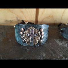 Wider metal cross bracelet Adjustable back western style bracelet. Boutique brand  Jewelry Bracelets