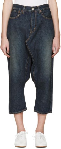 Junya Watanabe Blue Selvedge Sarouel Jeans | SSENSE saved by #ShoppingIS