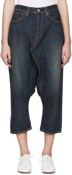 Junya Watanabe Blue Selvedge Sarouel Jeans   SSENSE saved by #ShoppingIS