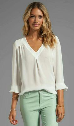 Shop for Joie Matte Silk Frenchie B Blouse in Porcelain at REVOLVE. Free day shipping and returns, 30 day price match guarantee. Modelos Fashion, Blouse Dress, Revolve Clothing, Pulls, Casual Chic, Blouse Designs, Casual Outfits, Tunic Tops, Clothes For Women