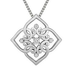 "Round Diamond and Sterling Silver Pendant (18"")"
